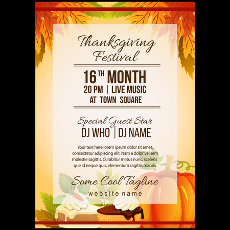 autumn thanksgiving festival poster template with pumpkin cake