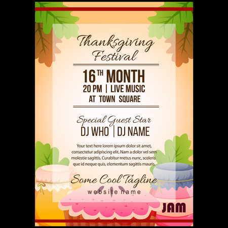 autumn thanksgiving festival poster template with pie