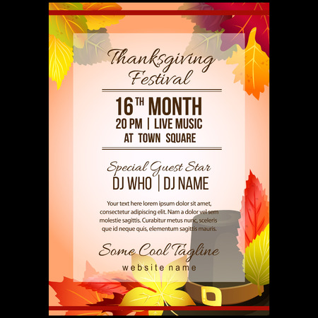 autumn thanksgiving festival poster template with hat