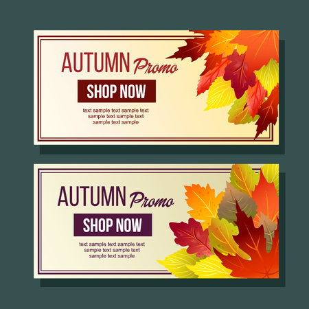 autumn promo website banner foliage nature leaves Çizim