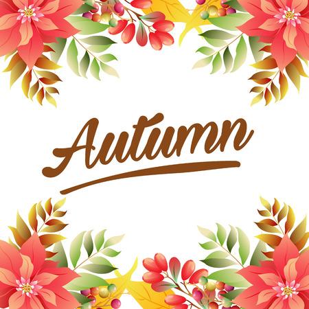 autumn poinsettia border vivid color Иллюстрация