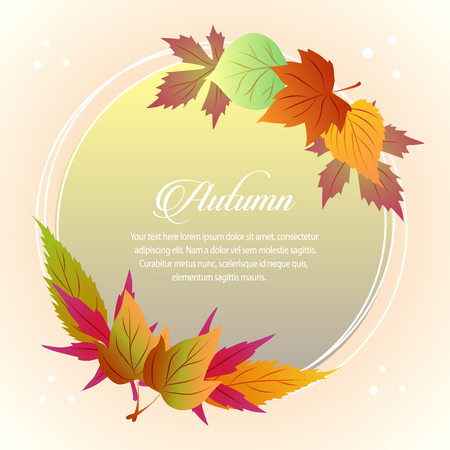 autumn card half seasonal leaves round text