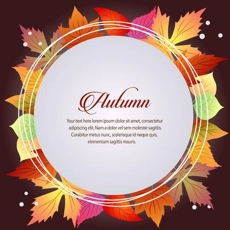 autumn card seasonal theme round text