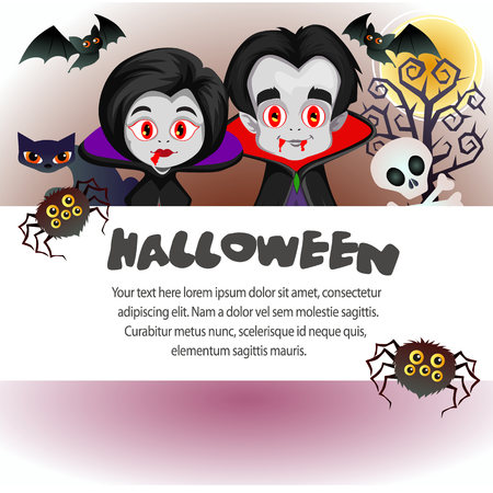halloween template vampire dracula couple with spider skull bat