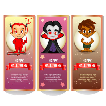 halloween banner collection with cartoon character such devil dracula and wolf Illustration