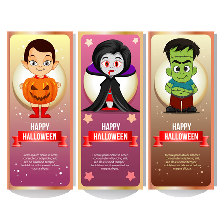 set of halloween banner collection with cute spooky cartoon character