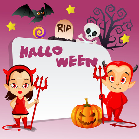 happy halloween trick or treat with little couple devil and dead tree background