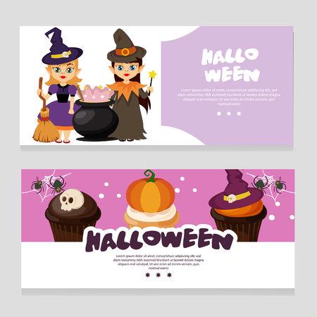 halloween theme banner with magic pot