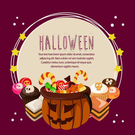 halloween card with treats round text
