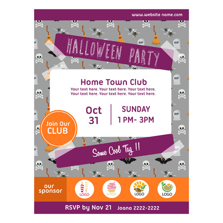 halloween party poster with skull pattern