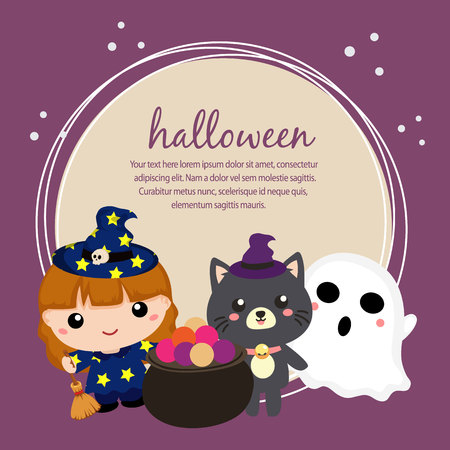 halloween card with lovable kids and cat Illustration
