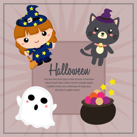 halloween lovable character square text