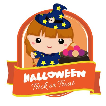 halloween badge with lovable kid witch