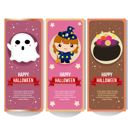 halloween banner collection with lovable kid witch