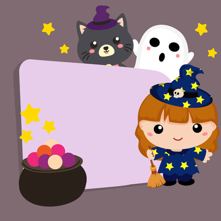 happy halloween lovable character in flat style