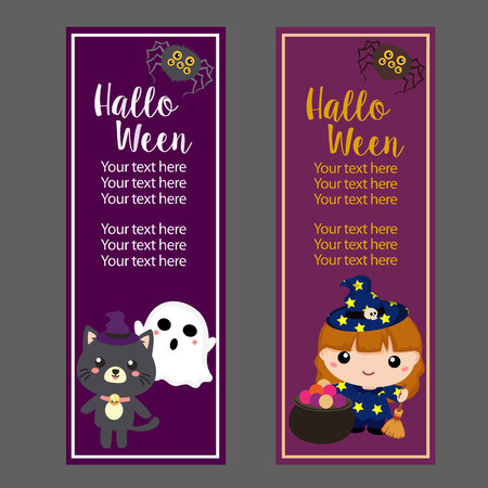 halloween vertical banner with lovable character