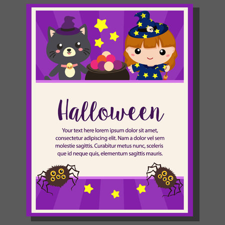 happy halloween theme poster lovable kids character