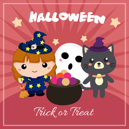 halloween card with lovable kids characters Illustration