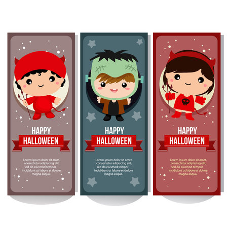halloween banner collection with devil costume kids
