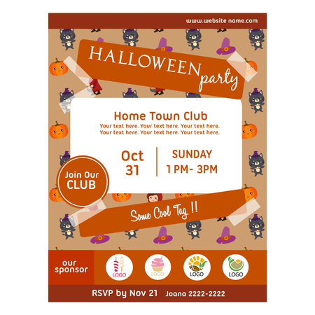 halloween party poster cute cat pattern Vettoriali