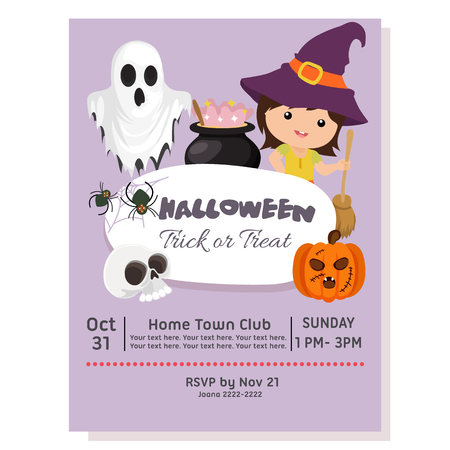 halloween party poster with witch kids with broom