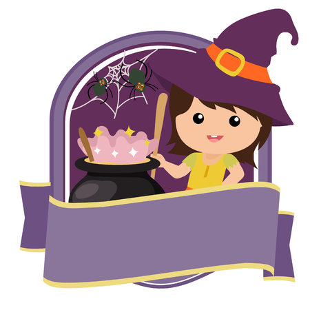 halloween badge with witch kid  イラスト・ベクター素材