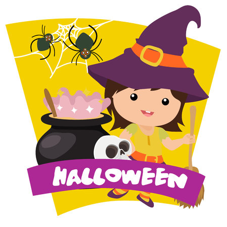 halloween kids witch with broom