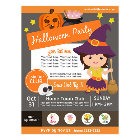 halloween party poster with witch kid broomstick