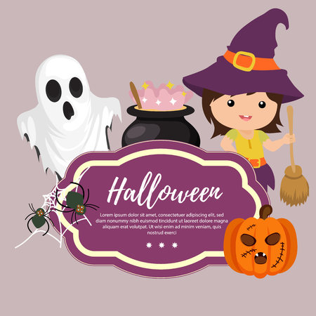 template halloween with witch broom