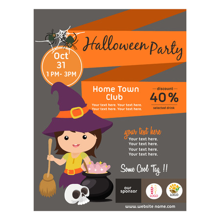 halloween poster with witch kid and broomstick