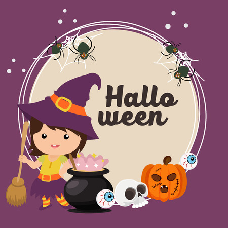 halloween card with witch kids  イラスト・ベクター素材