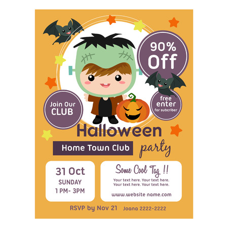 halloween poster with cute frankenstein