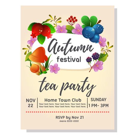 tea party autumn invitation with blueberry cranberry