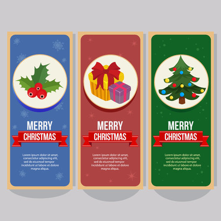 christmas vertical banner with christmas tree