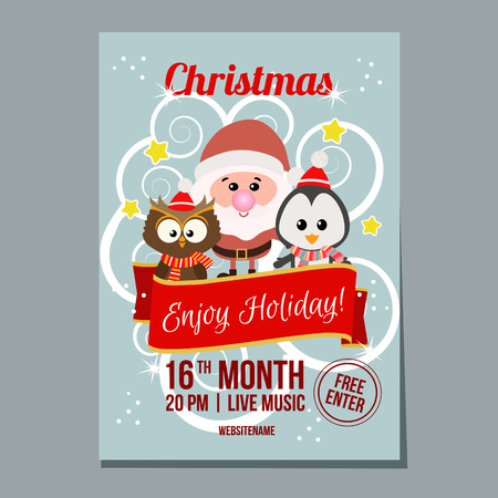 christmas week festival poster with penguin owl and santa Illustration