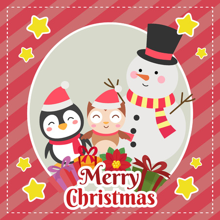 template merry christmas card with snowman penguin