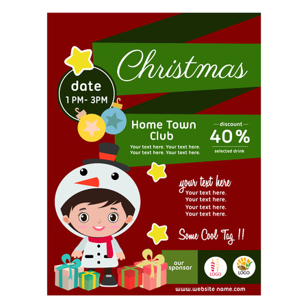 flat style christmas poster with children costume