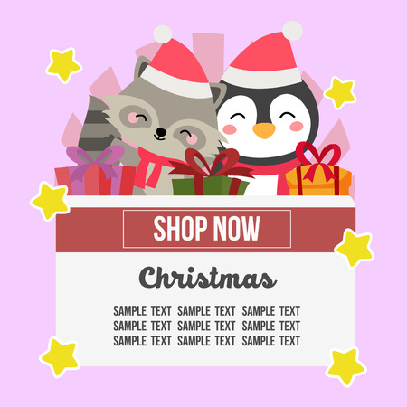 christmas shop theme with penguin and fox