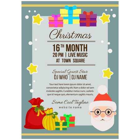 christmas party poster template flat style gift sacks