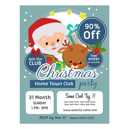 christmas poster template flat style santa claus