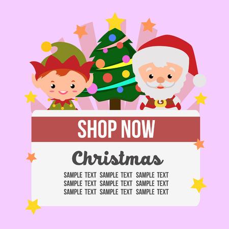 christmas shop theme with santa claus elf Vectores