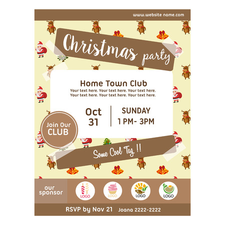 christmas party poster with happy santa pattern