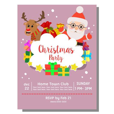christmas party invitation card santa claus gift sacks