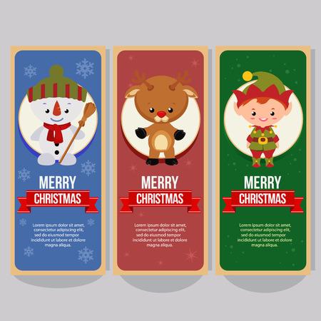 christmas vertical banner with santa claus reindeer elf