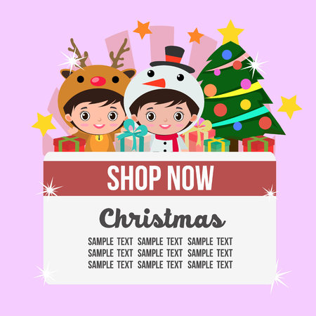 christmas shop theme with kids reindeer and snowman