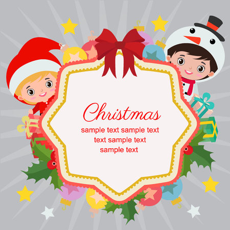 hello christmas with snowman kids and santa Vectores