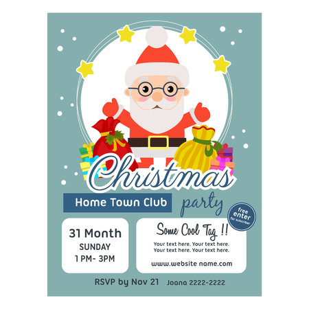 christmas poster template flat style santa claus gift sacks Çizim