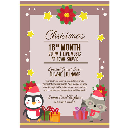 christmas party poster template penguin and fox Illustration