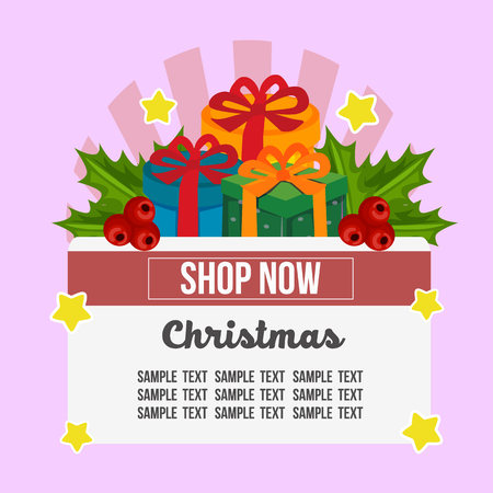 christmas shop theme with present gift box flat Vectores