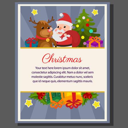 happy christmas theme poster happy santa flat style